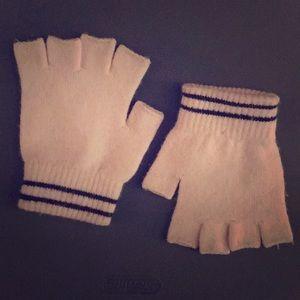 GAP BabyPink Fingerless Gloves with black stripe!
